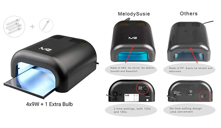 MelodySusie 36W UV Nail Dryer - UV Lamp Light for Any UV gel polish, with Sliding Tray & Timer Setting + 4 x 9W UV Lamp + Free Extra One Bulb - Black