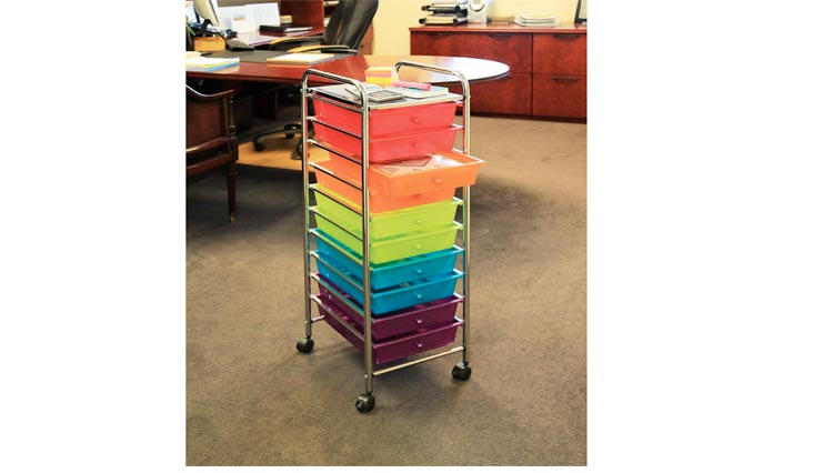 10-Drawer Organizer Cart (Service Carts), Pearlescent Multi-Color