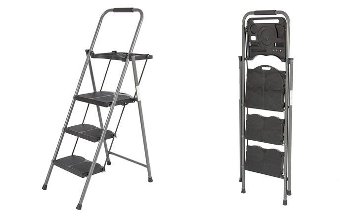 Shade 3 Step Ladder Platform Lightweight Folding Stool 330 LBS Cap Space Saving w/Tray