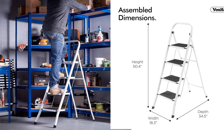 Steel 4 Step Ladders Folding Portable Stool with 330lbs Capacity - Lightweight and Sturdy