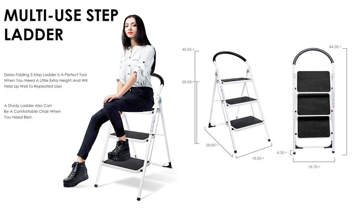 3 Step Ladder Folding Step Stool Stepladders with Handgrip Anti-slip and Wide Pedal Sturdy Steel Ladder 330lbs White and Black Combo (3 feet)