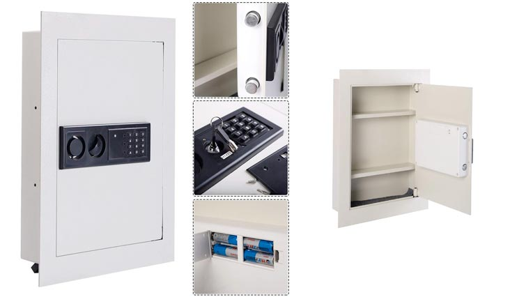 Giantex Electronic Wall Hidden Safe Security Box,.83 CF Built-In Wall Electronic Flat Security Safety Cabinet