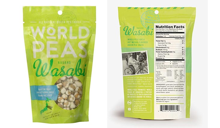 World Peas Nagano Hot Wasabi Flavored Peas, 5.3 Ounce