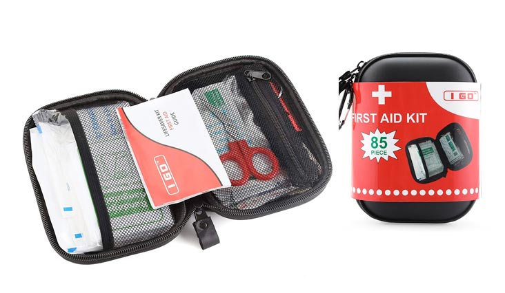 Compact First Aid Kit - Hard Shell Case for Hiking, Camping, Travel, Car - 85 Pieces
