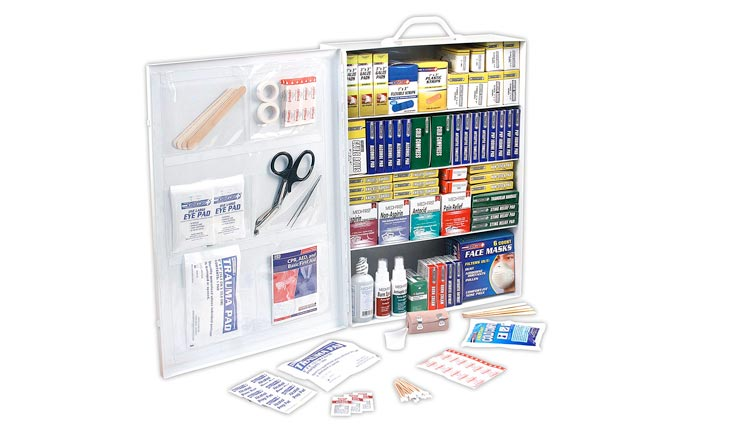 4 Shelf ANSI/OSHA Compliant All Purpose First Aid Kit or Cabinet, Wall Mountable, 1,110 Pieces