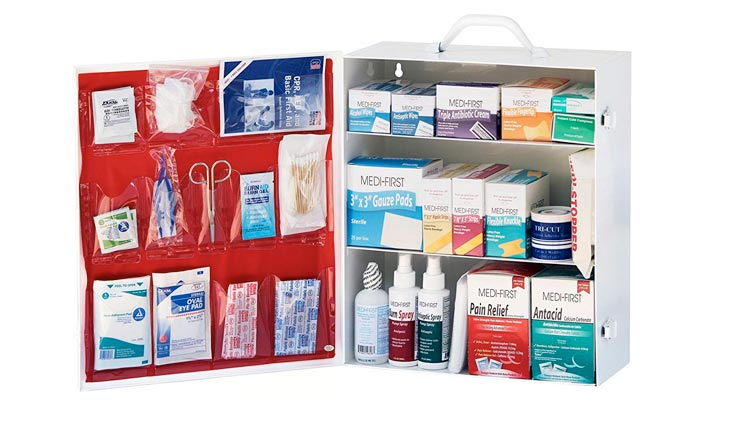 3-Shelf Industrial Side-Opening First Aid Kit or Cabinet, Filled