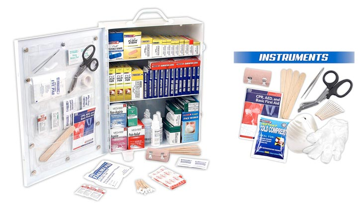 3 Shelf ANSI/OSHA Compliant All Purpose First Aid Kit or Cabinet, Wall Mountable, 800 Pieces