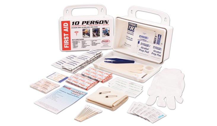 10 Person 106 Piece ANSI/OSHA Compliant Emergency First Aid Kit in Wall Mountable Poly Case