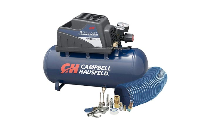 Air Compressor, Portable, 3 Gallon Horizontal, Oilless, w/10 Piece Accessory Kit Including Air Hose & Inflation Gun