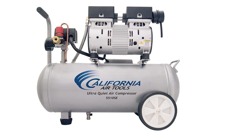 Ultra Quiet and Oil-Free 1.0-HP 5.5-Gallon Steel Tank Air Compressor