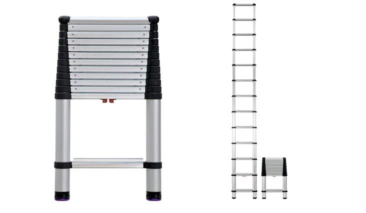 Compliant 16 ft Reach Professional Wide Step Telescoping Extension Ladder