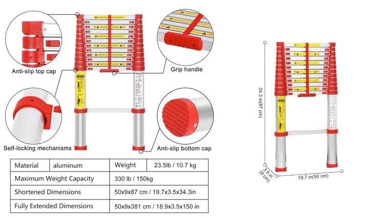12.5ft Telescoping Ladder Aluminum Telescopic Extension Tall Multi Purpose
