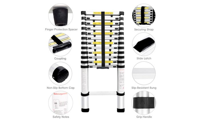 13.5ft Aluminum Telescopic Extension Ladder | Multi-purpose Telescoping Ladder,EN 131 Certified with Finger Protection Spacers, Anti-slip Treads and 331 lbs Capacity