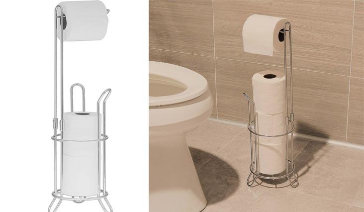 Bathroom Toilet Tissue Paper Roll Storage Holder Stand, Chrome Finish