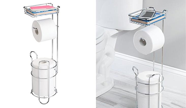 Freestanding Metal Wire Toilet Paper Roll Dispenser Holder and Extra Roll Reserve with Storage Shelf for Cell, Mobile Phone - Bathroom Storage Organization - Holds 3 Rolls - Chrome