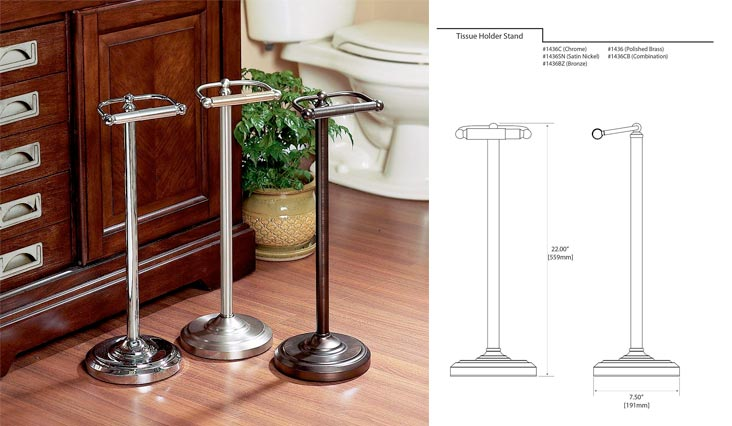 Pedestal Toilet Paper Holders, Satin Nickel