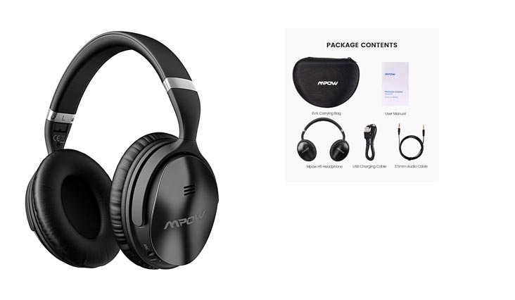 Mpow H5 Active Noise Cancelling Headphones, ANC Over Ear Wireless Bluetooth Headphones w/Mic, Dual 40 mm Drivers, Superior Hi-Fi Deep Bass for PC/Cell Phones (18-20Hrs Playtime, EVA Carrying Bag)