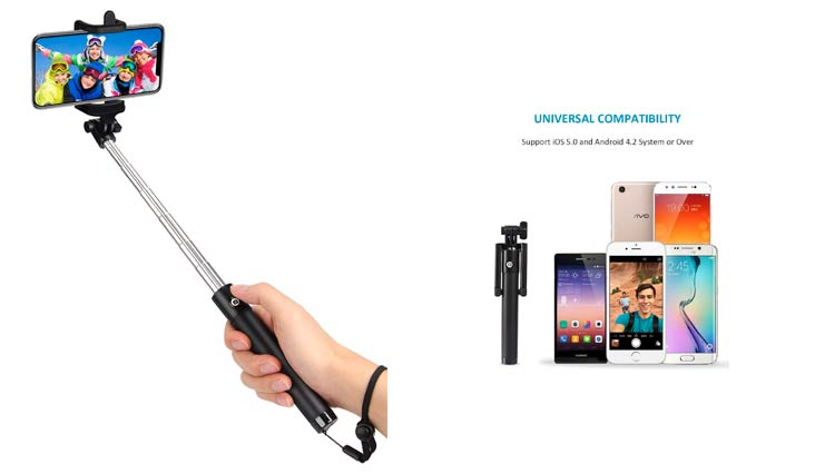 kungfuren Selfie Stick Bluetooth, Professional 50-Hour Long Battery Life and Japanese Seiko PCB Protection, Built-in Remote Camera Shutter for Selfie Stick iPhone 7 Plus All iOS and Android Smart Phone