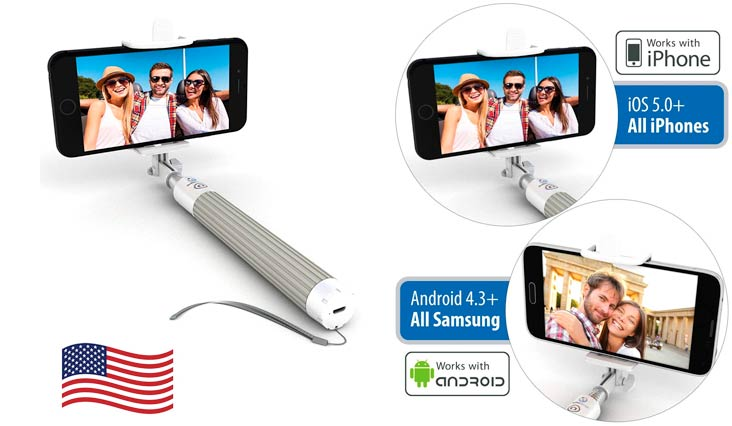 Premium 5-in-1 Bluetooth Selfie Stick (Powered by USA Technology) For iPhone X, 8, 7, 6 & 5, Samsung Galaxy S9, S8, S7, S6, S5 - Takes Perfect Selfies, HD Photos & Videos