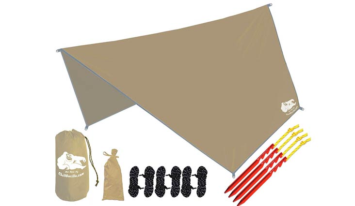 Chill Gorilla Hex Hammock Rain Fly Tent Tarp Waterproof Camping Shelter. Essential Survival Gear. Stakes Included. Lightweight. Easy to setup. Camp Accessories. MULTIPLE COLORS