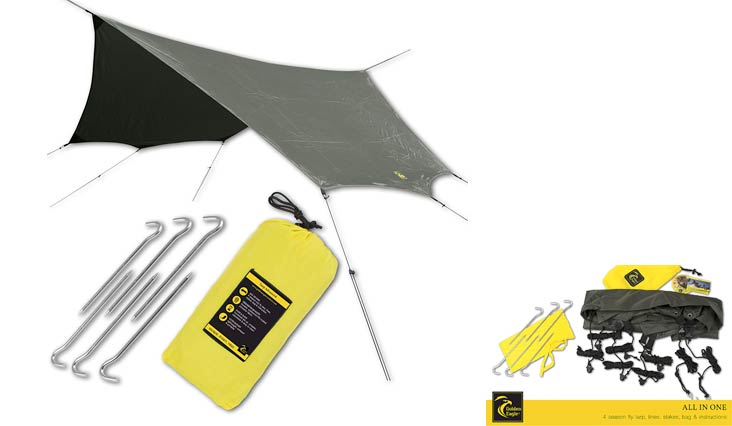 GOLDEN EAGLE SUMMER SALE Hammock Rain Sun Fly Tent Tarp PRO Waterproof Camping Shelter. Lightweight, Easy Setup, Polyester 190T. 126x126 in/320x320 cm.