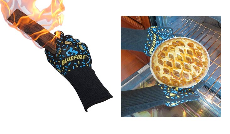 BlueFire Pro Oven Gloves, BBQ Gloves – Grilling Big Green Egg & Fireplace Accessories