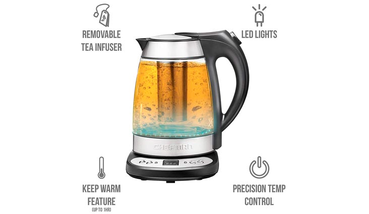 Chefman Electric Glass Digital Tea Kettle with FREE Tea Infuser, Built-In Precision Temperature Control Panel Base & Keep Warm Function