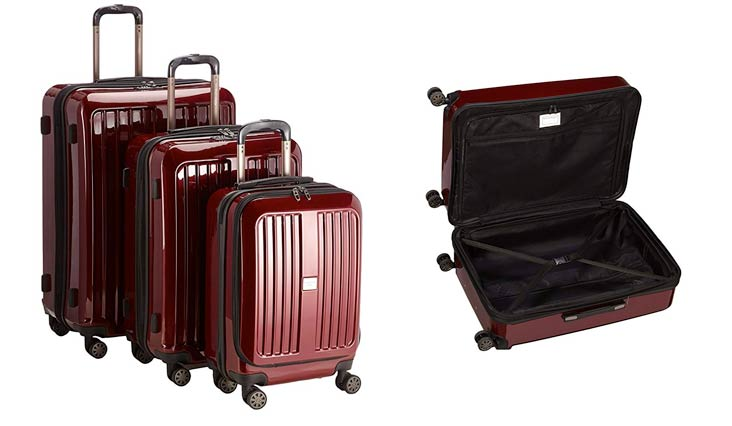 X-Berg Set of 3 Hard-side Luggages matt Suitcase Hardside Spinner Trolley Expandable (20°, 24° & 28°) TSA Burgundy
