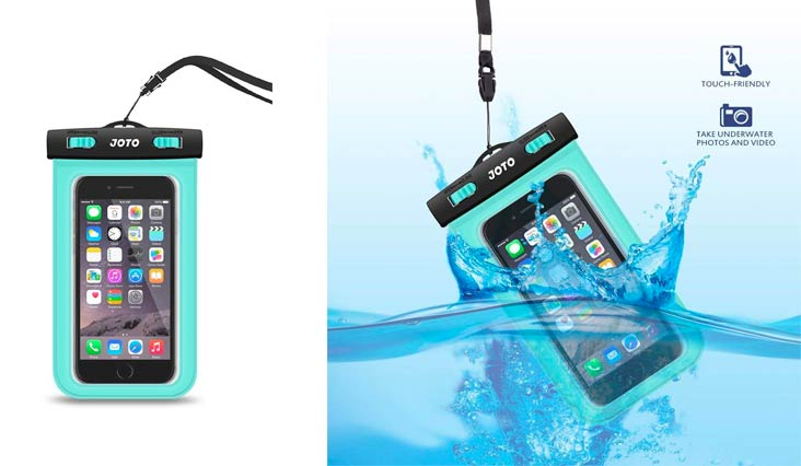 "Universal Waterproof Case, JOTO Cellphone Dry Bag Pouch for iPhone X 8 7 Plus 6S 6 Plus, Samsung Galaxy S9 S9 Plus S8 Note 8 6 5 4, Google Pixel 2 HTC LG Moto Huawei BLU up to 6.0"" - Green"