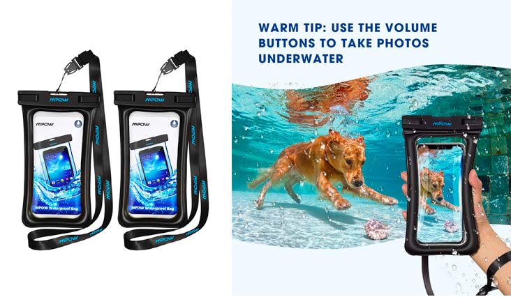 "Mpow Waterproof Phone Pouch Floating, IPX8 Universal Waterproof Case Underwater Dry Bag Compatible iPhone X/8/8plus/7/7plus/6s/6/6s Plus Galaxy s9/s8 Google Pixel HTC up to 6.0"" (Black)"