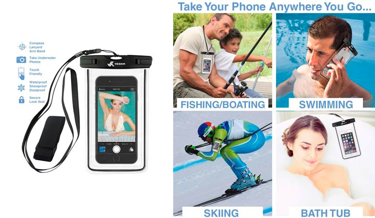 [ PREMIUM QUALITY ] Universal Waterproof Phone Holder with ARM BAND & LANYARD - Best Grade Water Proof, Dustproof, Snowproof & Shockproof Pouch Bag Case for Apple iPhone, Android and All SmartPhone