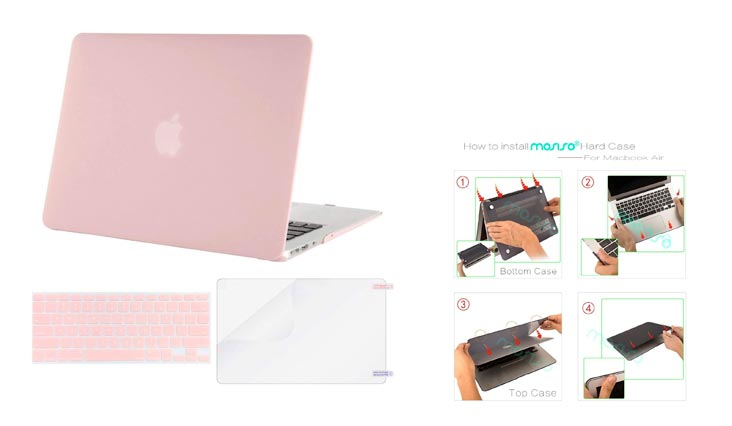 MOSISO Plastic Hard Case Shell with Keyboard Cover with Screen Protector Compatible MacBook Air 13 Inch (Models: A1369 and A1466), Rose Quartz