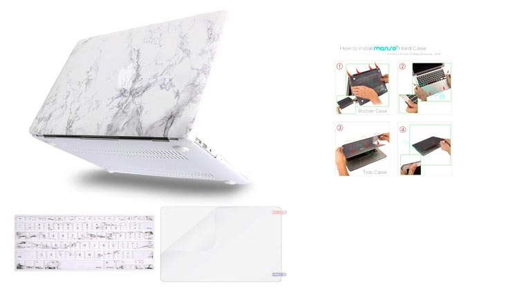 MOSISO Plastic Pattern Hard Case Shell with Keyboard Cover with Screen Protector Compatible MacBook Air 13 Inch (Model: A1369 and A1466), White Marble