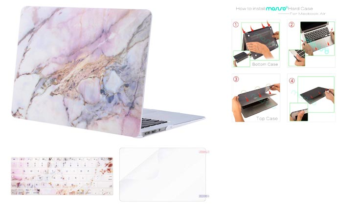 MOSISO Plastic Pattern Hard Case Shell with Keyboard Cover with Screen Protector Compatible MacBook Air 13 Inch (Model: A1369 and A1466), Colorful Marble