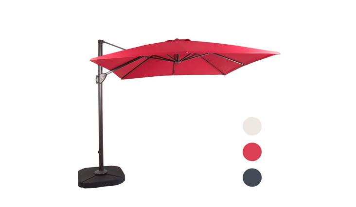 DOMI OUTDOOR LIVING 11-Feet Aluminum Cantilever Umbrella Outdooor Patio Tilt & Crank Round Umbrella with Cross Base,Grey