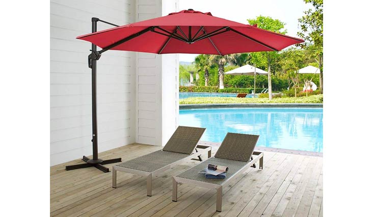 Ulax furniture 11 Ft Patio Umbrella Outdoor Offset Hanging Umbrella with Cantilever Aluminum, 360° Rotation,Canopy with Vertical Tilt, Sunbrella Fabric,Cross Base Including Heather Beige