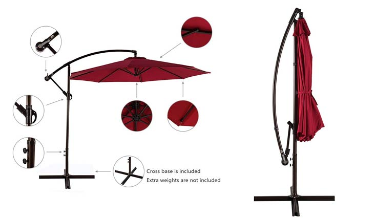 AMT Adjustable Offset Cantilever Hanging 10' Patio Umbrella with Cross Base and Crank, Beige