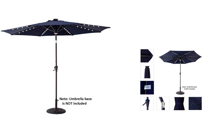 C-Hopetree 11 feet Solar Power 40 LED Lights Outdoor Patio Market Umbrella with Crank Winder, Push Button Tilt, Navy Blue