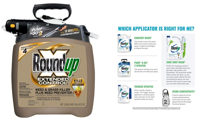 Roundup Extended Control Weed and Grass Killer Plus Weed Preventer II Ready-to-Use Pump 'N Go Sprayer, 1.33 Gallon