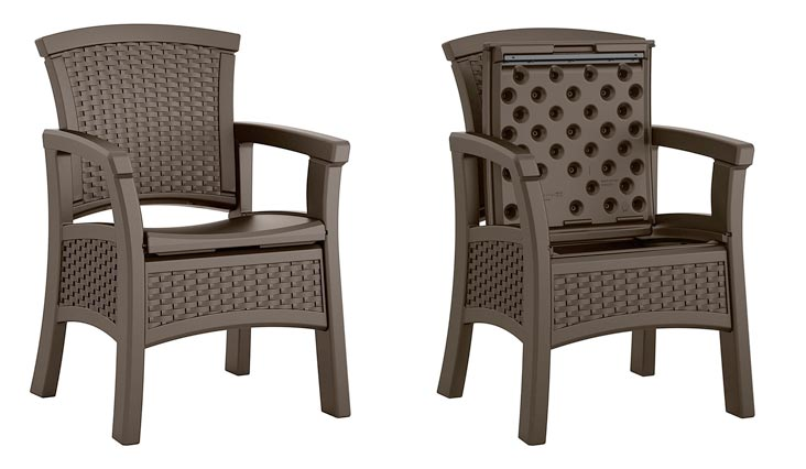 Suncast Elements BMDC1400D Dining Chair with Storage, Java