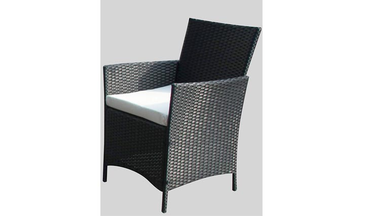 The French Riviera Collection - 4 Pc Outdoor Rattan Wicker Sofa Patio Furniture Set. Choice of Set & Cushion Color (Black / Ivory Cushions)