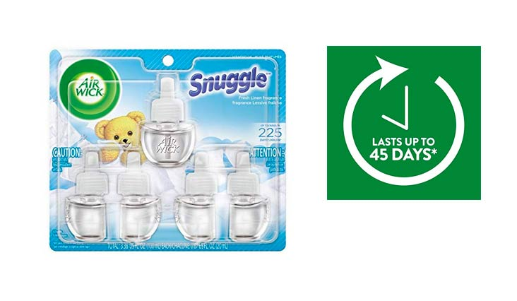Air Wick Scented Oil 5 Refills, Snuggle Fresh Linen, (5X0.67oz), Air Freshener