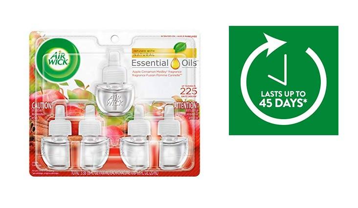 Air Wick Scented Oil 5 Refills, Apple Cinnamon Medley, (5X0.67oz), Air Freshener