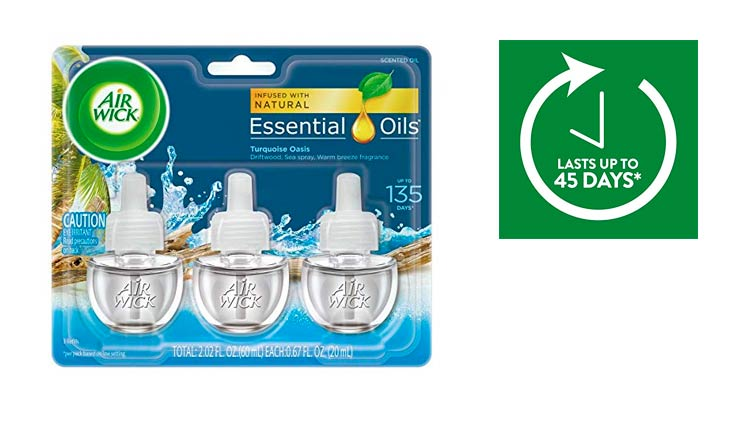 Air Wick Scented Oil 3 Refills, Turquoise Oasis, (3X0.67oz), Air Freshener