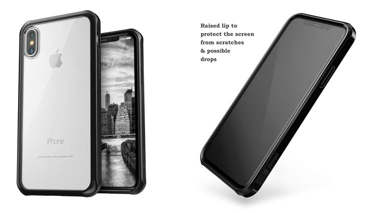 Jaagd hui-59 IPhone X Case, Hybrid Shock Modern Slim, Non-Slip Grip Cell Phone Case - Black