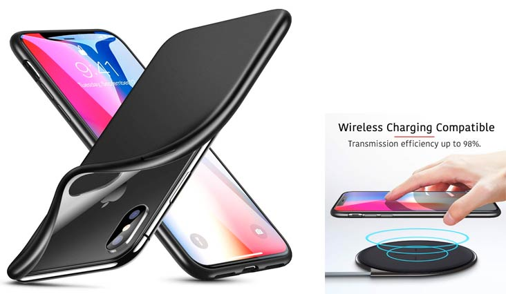 ESR Case for iPhone X, Slim Solid Soft TPU Cover [Support Wireless Charging] for iPhone X/iPhone 10 5.8 inch (Solid Black)