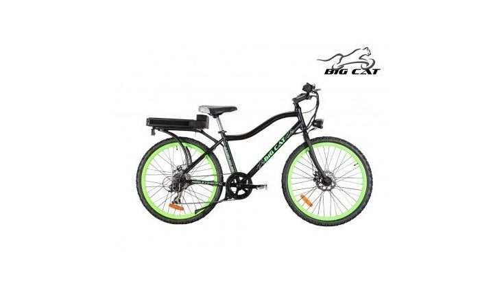 Big Cat Electric Bikes Ghost Rider Bicycle, 26-Inch/One Size, Green Wheels