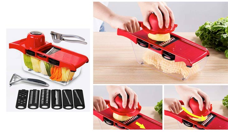 Mandoline Slicer Vegetable Cutter 8in1 Chopper–6 Durable Blades Julienne and Grater with Veggies Peeler Garlic Press Food Container