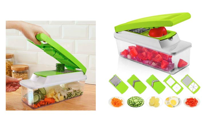 Vegetable Chopper, Onion Chopper, 13 Pieces with 7 Interchangeable Stainless Steel Blades and Peeler, for Fruits Cheese and Onions (Cleaning Brush included) by TechPlus