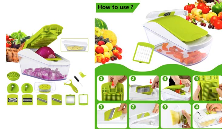 Vegetable Chopper Spiralizer Mandoline Slicer Dicer, Food Chopper Vegetable Cutter Cheese Grater for Onion Potato Zucchini Carrot Tomato Fruit, 8-blades, Extra Peeler and Food Container Included